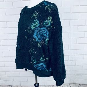 Zara floral embroidered fuzzy sweater black size S